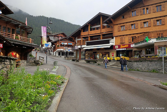 A quiet summer evening on the streets of Verbier, a village of 3,500 inhabitants for much of the year