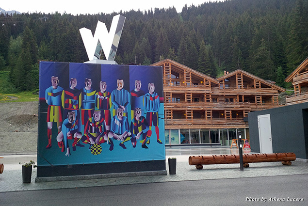 Place Blanche, across from the W Verbier, is the village's new gathering square with lively après-ski in winter and a cool, sandy beach during summer