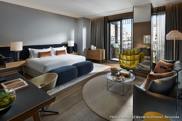Catalan style blends with Mandarin Oriental's signature hospitality in a junior suite at the hotel chain's Barcelona property