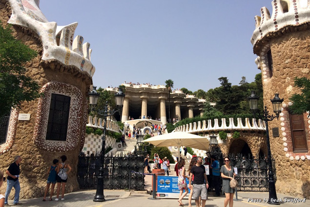 Whimsical buildings mark the entrance to Parc Güell