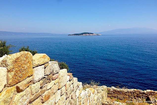 Looking out over the water at the birthplace of Aristotle