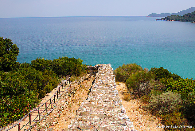 A walkway to the water at the birthplace of Aristotle