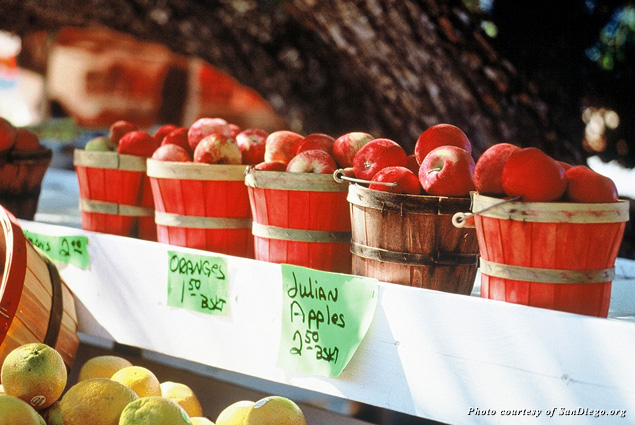Fresh-picked apples in barrels for sale in Julian