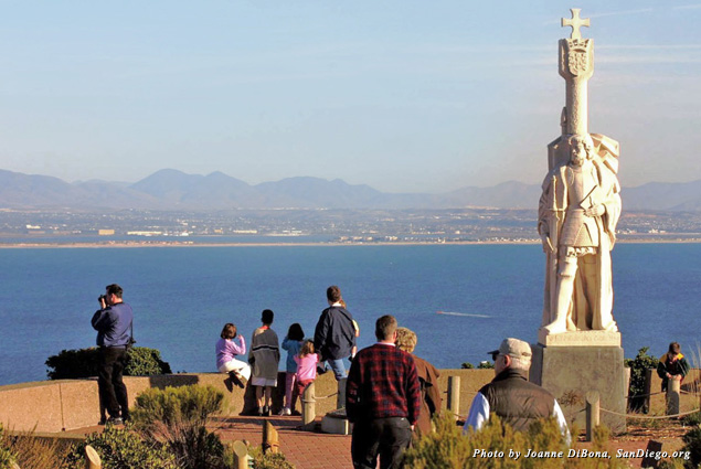 Visitors at the Cabrillo National Monument overlooking the ocean