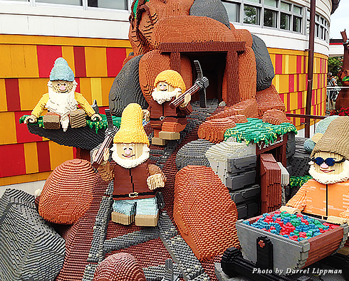 Seven Dwarf characters made out of Legos at Downtown Disney