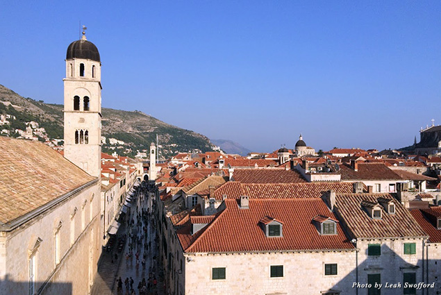 Looking down at the main street in Dubrovnik's Old City while walking the walls