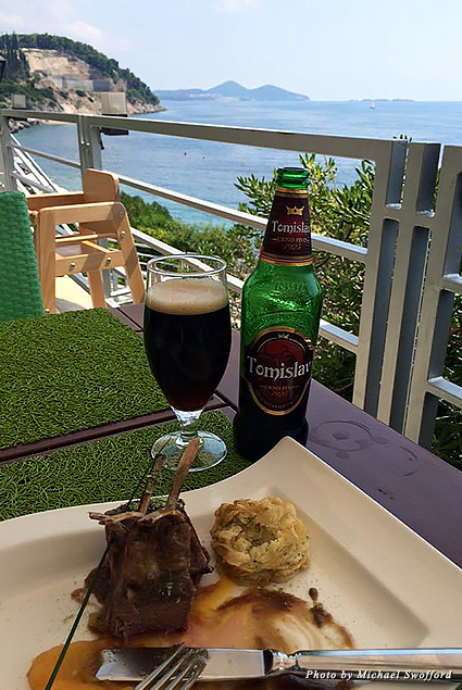 Lunch with local beer and a view at Cilantro restaurant at the Radisson Blu Resort & Spa, Dubrovnik Sun Gardens