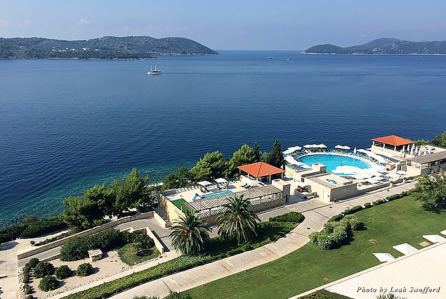 Looking out over the Radisson Blu Dubrovnik grounds and pools toward the Adriatic Sea