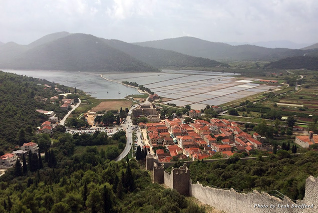 Looking out over the walled city of Ston toward the salt mines