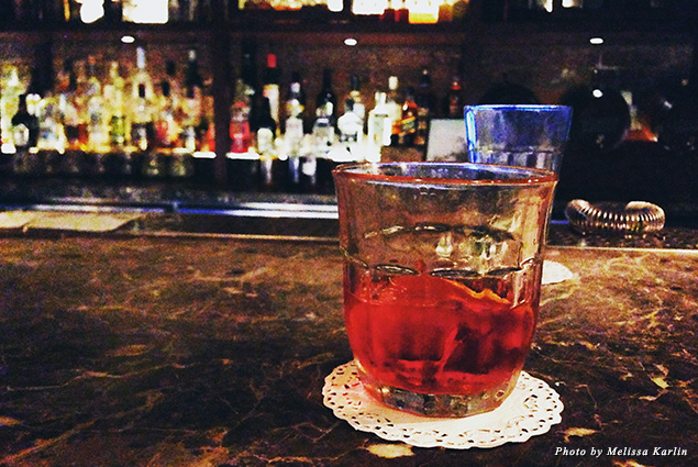 The downstairs bar at the King's Cross location is the perfect spot to enjoy a classic negroni with a Dishoom twist