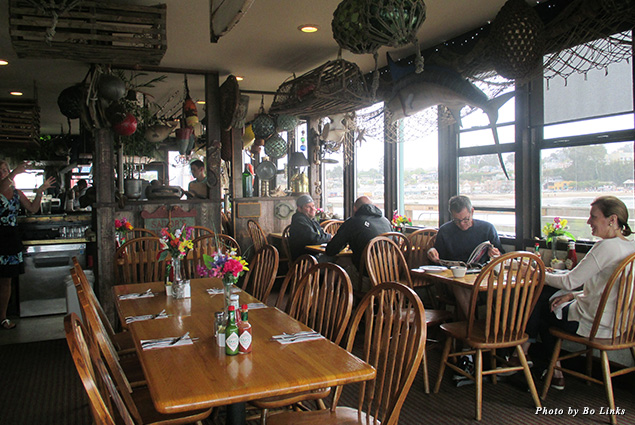 Inside the popular Wharf House Restaurant