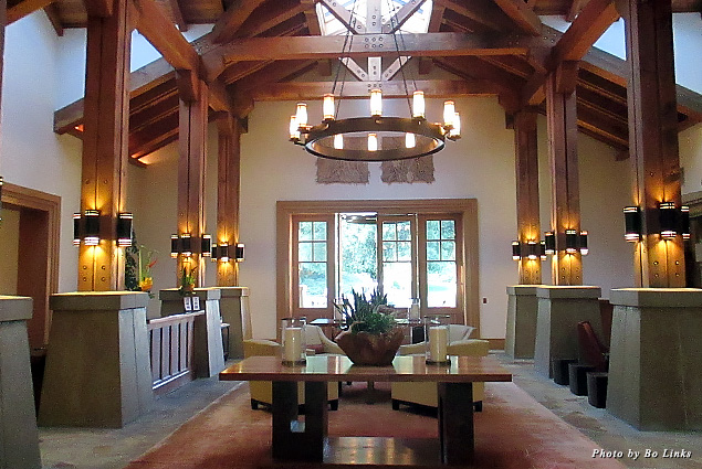 Vaulted ceilings and warm colors in the interior of CordeValle Lodge