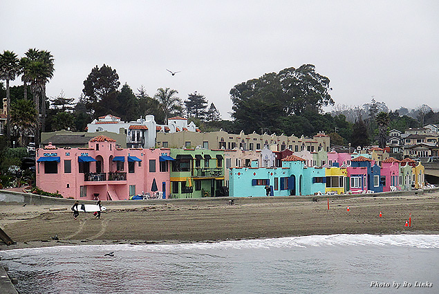 Capitola's cove of colorful houses