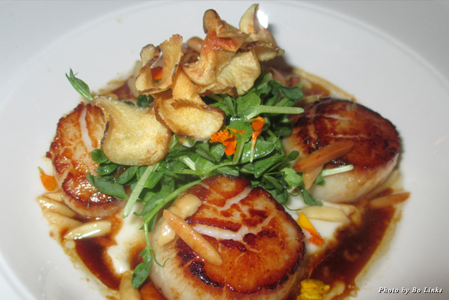 Brown butter scallops at 398 Brasserie