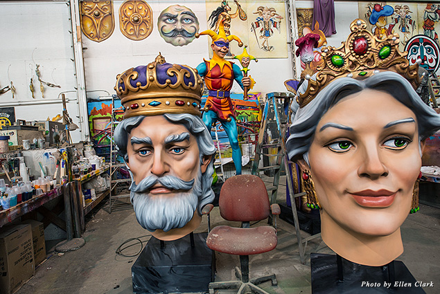 Work room at Mardi Gras World