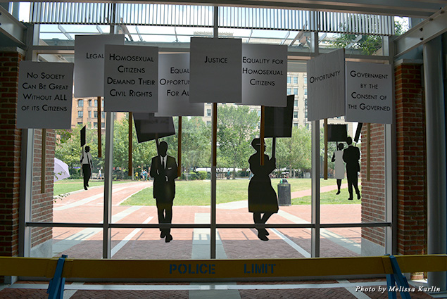 Protest exhibit at the Liberty Bell Center