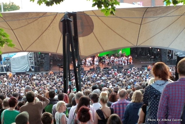 Bjork's opening concert at the 2015 Manchester International Festival (held every two years) was standing room only at Castlefield amphitheater