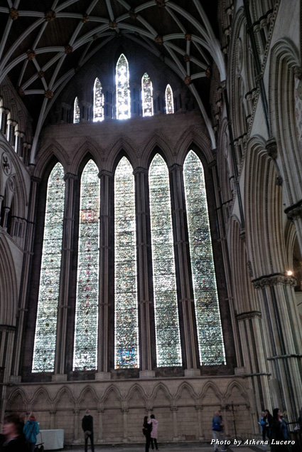 "Inside York Minster, ""The Five Sisters"" stained glass panels are 54 feet high and contain more than 100,000 pieces of glass"