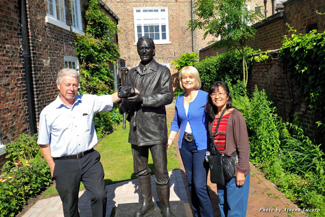 At the World of James Herriot museum, the author (far right) stands with Jim Wight and Rosie Page flanking their father's statue erected in 2015