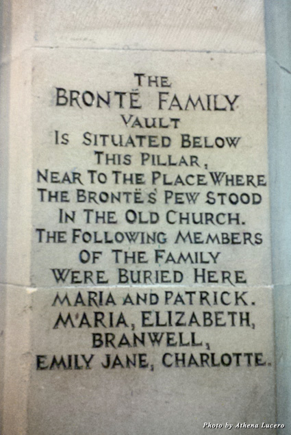 All members of the Brontë family, except Anne Brontë, were buried in the family vault beneath the Church of St. Michael and All Angels next door to the Brontë Parsonage Museum