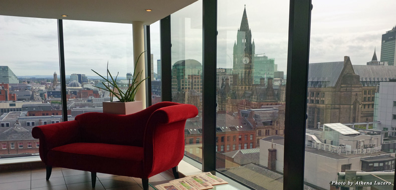The 14th floor at Manchester's Radisson Blu Edwardian meets eye to eye with the Clock Tower of the 18th century Town Hall