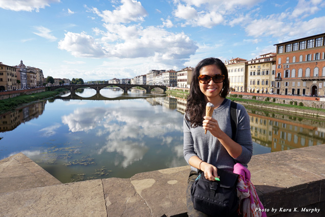 Eating gelato on the Arno River