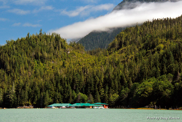 View of Knight Inlet Lodge and the mountains beyond