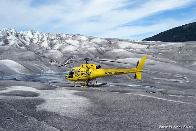 Landing on the Taku Glacier near Juneau, Alaska