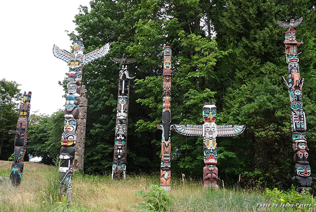 The famed First Nation totem poles in Vancouver's Stanley Park