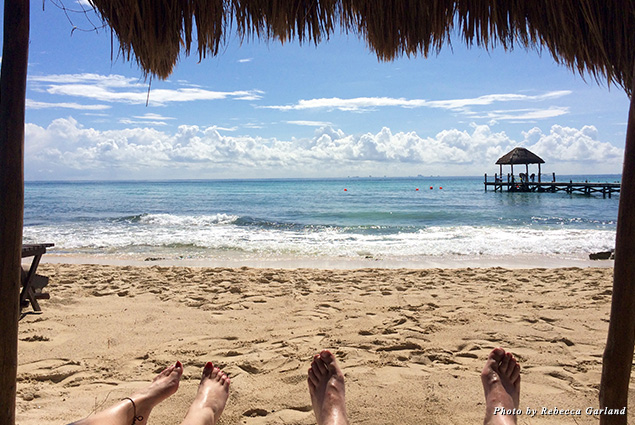 View from underneath the beach palapa