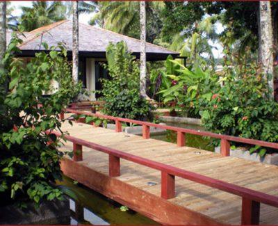 Deliciously lush, undulating landscape, and tropical gardens of Oasis Spa, Port Vila, Vanuatu