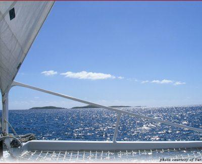 Bolongo Bay catamaran sails toward Turtle Cove