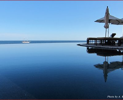 An infinity pool at Grand Solmar in Cabo San Lucas offers a bird's-eye view of the ocean