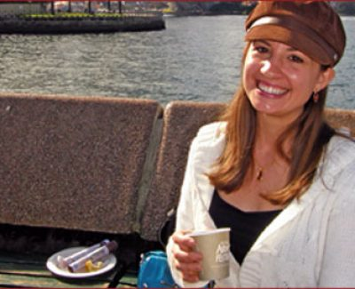 Julianna Klose enjoys Turkish coffee with an iconic view at the annual Aroma Festival in The Rocks, one of Sydney's oldest neighbourhoods