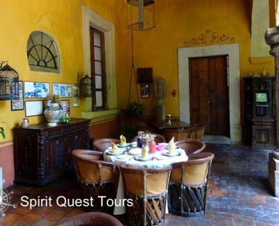 Inside the colorful dining room at Hacienda El Carmen