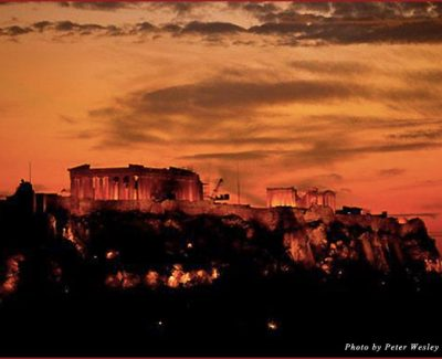 Sunset over the Acropolis from the roof garden at Hotel Grand Bretagne