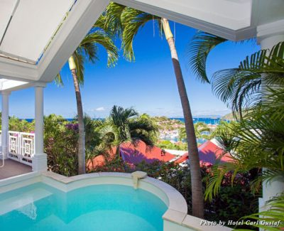 The view of Gustavia Harbour from the suite's private pool