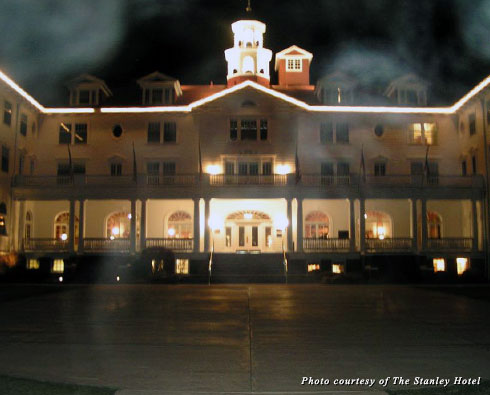 The exterior of the Stanley Hotel in Colorado