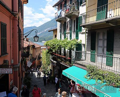 A view down one of the streets in Bellagio, Italy