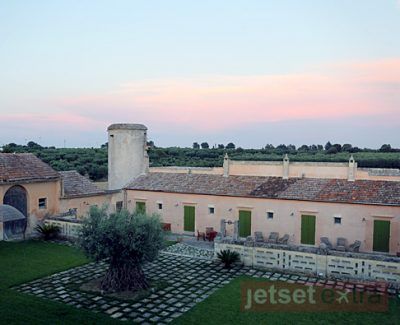 A sunset view over the Naturalis Bio Resort in Puglia, Italy