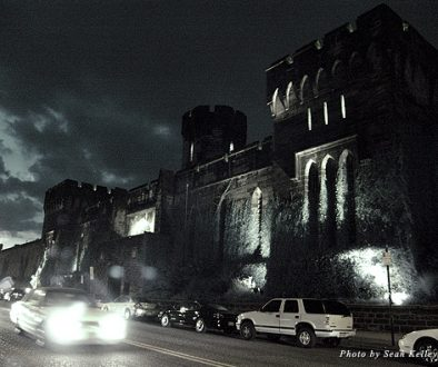 Fortress walls of the Eastern State Penitentiary at night