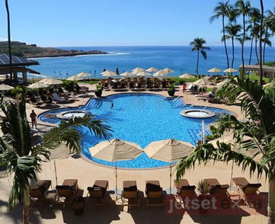 View of the pool and ocean from the Four Seasons Resort Lana'i, Manele Bay