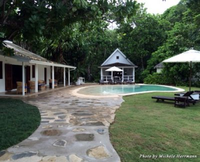 The grounds at the Fleming Villa include a private pool and gathering spaces