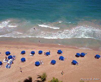 Umbrellas dot the beach in San Juan