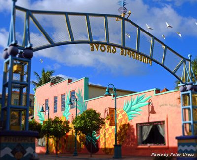 The iconic Pineapple Grove arch is the gateway to one of Delray Beach's most popular neighborhoods