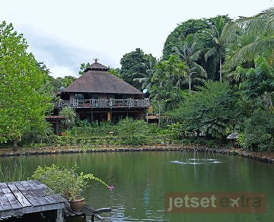 Looking across the lake at Spa Koh Chang to the restaurant and lobby